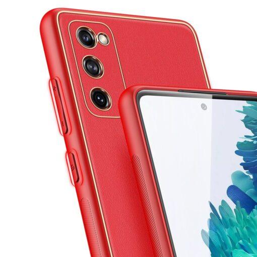 Samsung Galaxy S20 FE 5G umbris Dux Ducis Yolo elegant kunstnahast ja silikoonist servadega punane 6