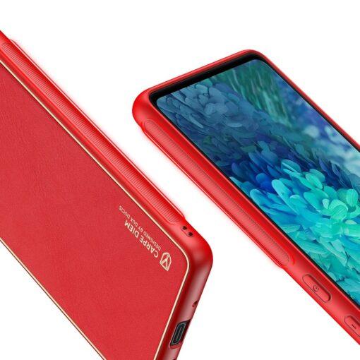 Samsung Galaxy S20 FE 5G umbris Dux Ducis Yolo elegant kunstnahast ja silikoonist servadega punane 7