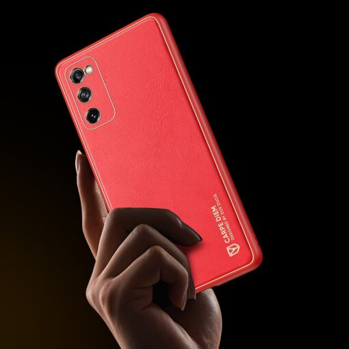 Samsung Galaxy S20 FE 5G umbris Dux Ducis Yolo elegant kunstnahast ja silikoonist servadega punane 8