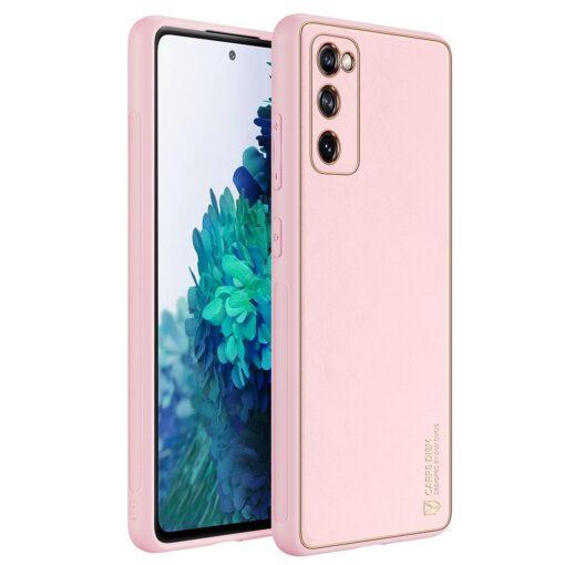 Samsung Galaxy S20 FE 5G umbris Dux Ducis Yolo elegant kunstnahast ja silikoonist servadega roosa