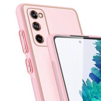 Samsung Galaxy S20 FE 5G umbris Dux Ducis Yolo elegant kunstnahast ja silikoonist servadega roosa 6