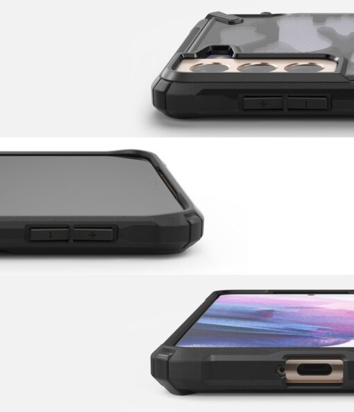 Samsung Galaxy S21 Plus Ringke Fusion X Design tugev umbris plastikust taguse ja silikoonist raamiga must camo XDSG0045 1