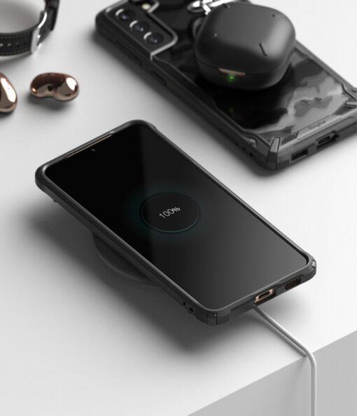 Samsung Galaxy S21 Plus Ringke Fusion X Design tugev umbris plastikust taguse ja silikoonist raamiga must camo XDSG0045 2