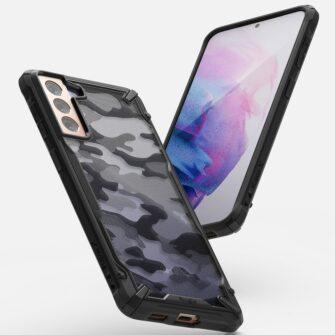 Samsung Galaxy S21 Plus Ringke Fusion X Design tugev umbris plastikust taguse ja silikoonist raamiga must camo XDSG0045 3
