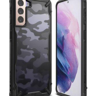 Samsung Galaxy S21 Plus Ringke Fusion X Design tugev umbris plastikust taguse ja silikoonist raamiga must camo XDSG0045