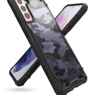 Samsung Galaxy S21 Plus Ringke Fusion X Design tugev umbris plastikust taguse ja silikoonist raamiga must camo XDSG0045 6