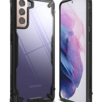 Samsung Galaxy S21 Plus Ringke Fusion X tugev umbris plastikust taguse ja silikoonist raamiga must FUSG0067