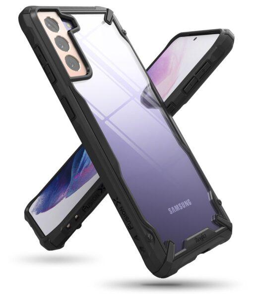 Samsung Galaxy S21 Plus Ringke Fusion X tugev umbris plastikust taguse ja silikoonist raamiga must FUSG0067 7