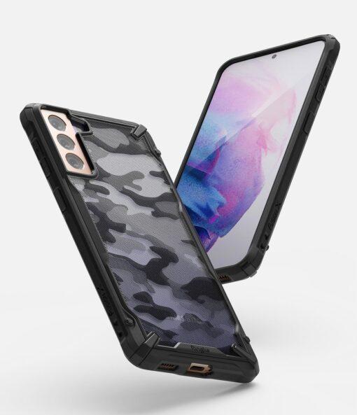 Samsung Galaxy S21 Ringke Fusion X Design tugev umbris plastikust taguse ja silikoonist raamiga must camo XDSG0044 2
