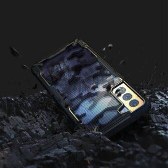Samsung Galaxy S21 Ringke Fusion X Design tugev umbris plastikust taguse ja silikoonist raamiga must camo XDSG0044 4