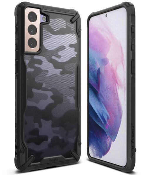 Samsung Galaxy S21 Ringke Fusion X Design tugev umbris plastikust taguse ja silikoonist raamiga must camo XDSG0044