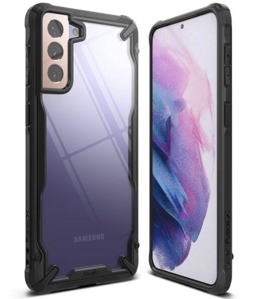 Samsung Galaxy S21 Ringke Fusion X tugev umbris plastikust taguse ja silikoonist raamiga must FUSG0066