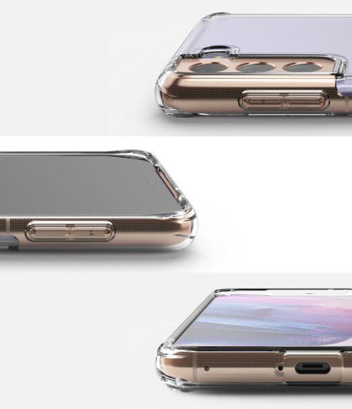 Samsung Galaxy S21 Ringke Fusion umbris plastikust taguse ja silikoonist raamiga labipaistev FSSG0090 2