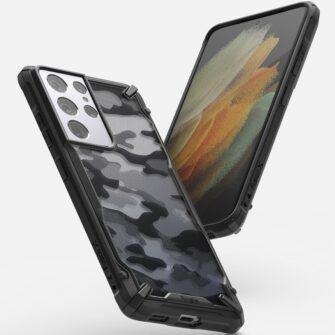 Samsung Galaxy S21 Ultra Ringke Fusion X Design tugev umbris plastikust taguse ja silikoonist raamiga must camo XDSG0046 1