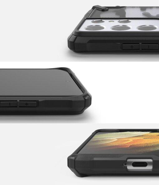 Samsung Galaxy S21 Ultra Ringke Fusion X Design tugev umbris plastikust taguse ja silikoonist raamiga must camo XDSG0046 2