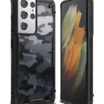 Samsung Galaxy S21 Ultra Ringke Fusion X Design tugev umbris plastikust taguse ja silikoonist raamiga must camo XDSG0046