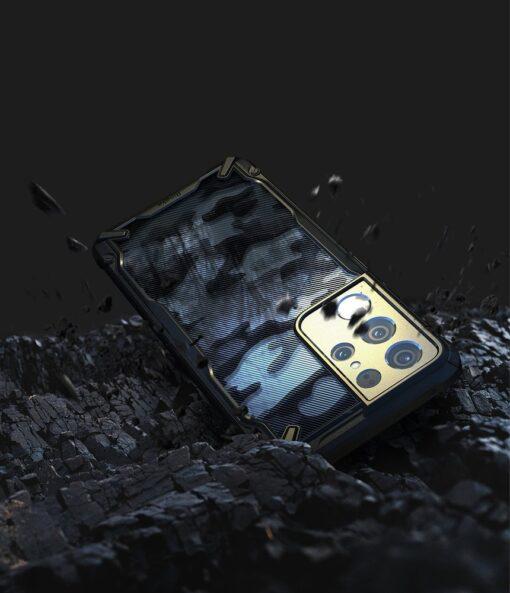 Samsung Galaxy S21 Ultra Ringke Fusion X Design tugev umbris plastikust taguse ja silikoonist raamiga must camo XDSG0046 4