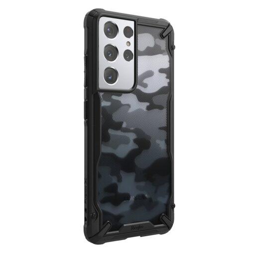 Samsung Galaxy S21 Ultra Ringke Fusion X Design tugev umbris plastikust taguse ja silikoonist raamiga must camo XDSG0046 7