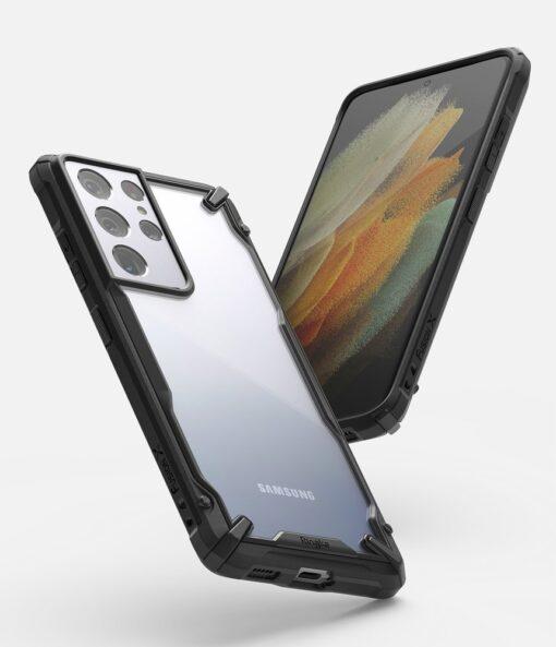Samsung Galaxy S21 Ultra Ringke Fusion X tugev umbris plastikust taguse ja silikoonist raamiga must FUSG0068 1