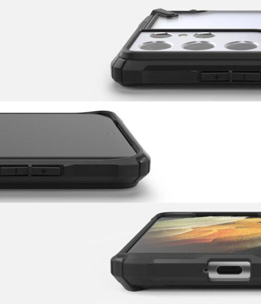 Samsung Galaxy S21 Ultra Ringke Fusion X tugev umbris plastikust taguse ja silikoonist raamiga must FUSG0068 2