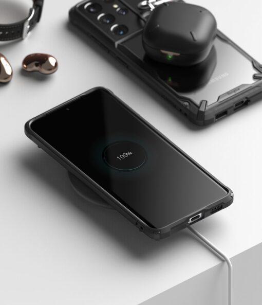 Samsung Galaxy S21 Ultra Ringke Fusion X tugev umbris plastikust taguse ja silikoonist raamiga must FUSG0068 3
