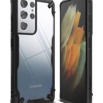 Samsung Galaxy S21 Ultra Ringke Fusion X tugev umbris plastikust taguse ja silikoonist raamiga must FUSG0068