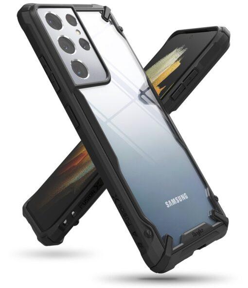 Samsung Galaxy S21 Ultra Ringke Fusion X tugev umbris plastikust taguse ja silikoonist raamiga must FUSG0068 6