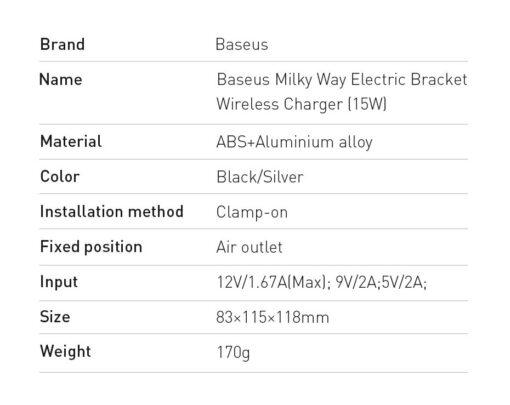 Baseus Milky Way 15W juhtmevaba laadimisega telefonihoidik WXHW02 01 must 20