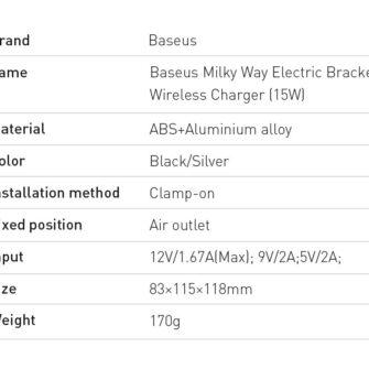 Baseus Milky Way 15W juhtmevaba laadimisega telefonihoidik WXHW02 0S hobe 19
