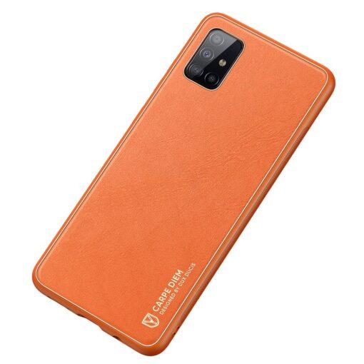 Samsung A51 umbris YOLO kunstnahast ja silikoonist servadega punane 1 1