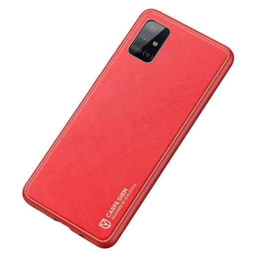 Samsung A51 umbris YOLO kunstnahast ja silikoonist servadega punane 1