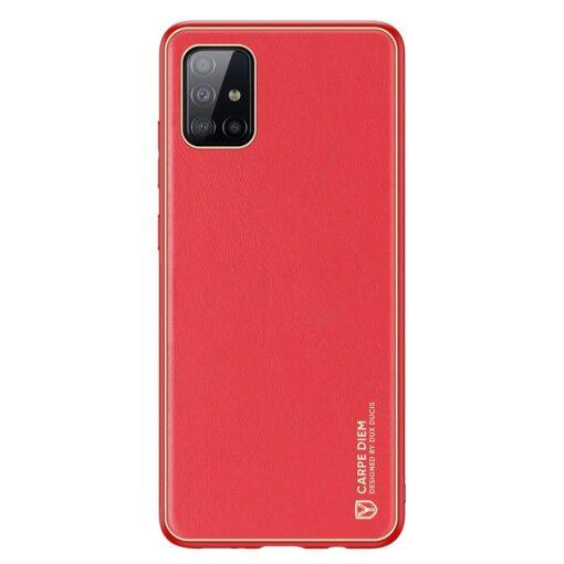Samsung A51 umbris YOLO kunstnahast ja silikoonist servadega punane 11