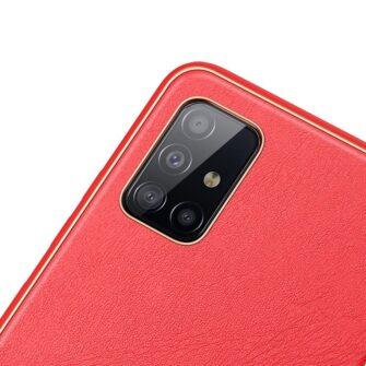 Samsung A51 umbris YOLO kunstnahast ja silikoonist servadega punane 2