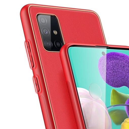 Samsung A51 umbris YOLO kunstnahast ja silikoonist servadega punane 3