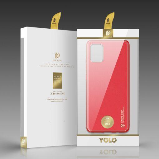 Samsung A51 umbris YOLO kunstnahast ja silikoonist servadega punane 4