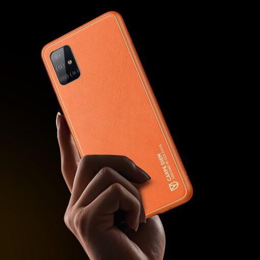 Samsung A51 umbris YOLO kunstnahast ja silikoonist servadega punane 5 1