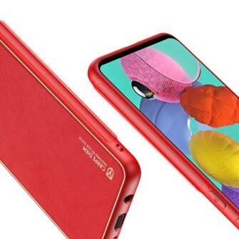 Samsung A51 umbris YOLO kunstnahast ja silikoonist servadega punane 5