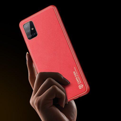 Samsung A51 umbris YOLO kunstnahast ja silikoonist servadega punane 6