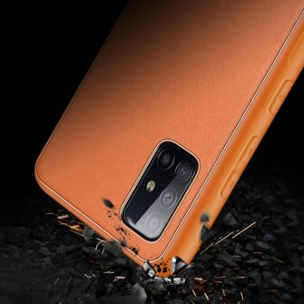 Samsung A51 umbris YOLO kunstnahast ja silikoonist servadega punane 8 1