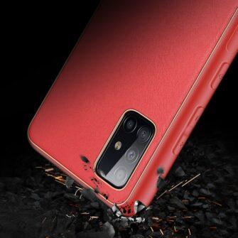 Samsung A51 umbris YOLO kunstnahast ja silikoonist servadega punane 8