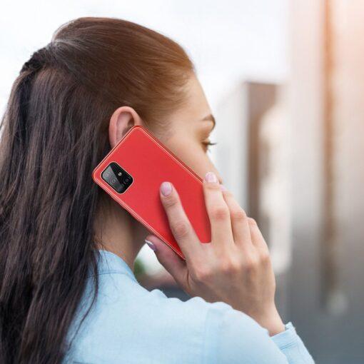 Samsung A51 umbris YOLO kunstnahast ja silikoonist servadega punane 9