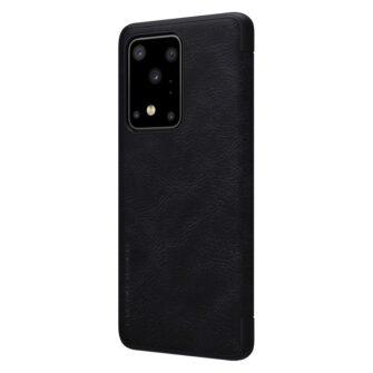 Samsung S20 Ultra kaaned nahast Nillkin Qin must 1