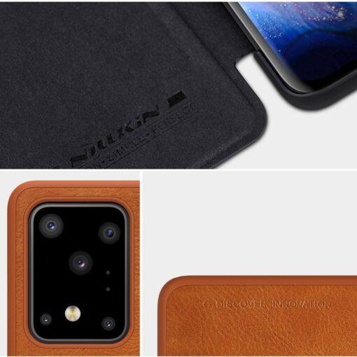 Samsung S20 Ultra kaaned nahast Nillkin Qin must 11