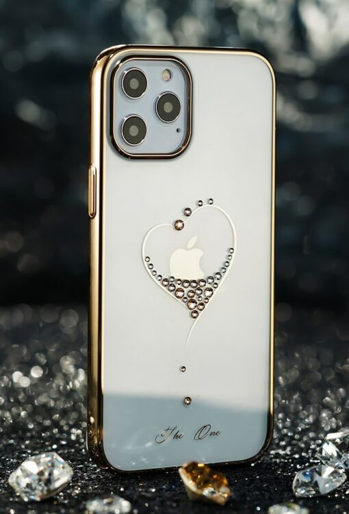 iPhone 12 Pro Max Kingxbar Wish elastsest plastikust Swarowski kristallikestega kuldne 11