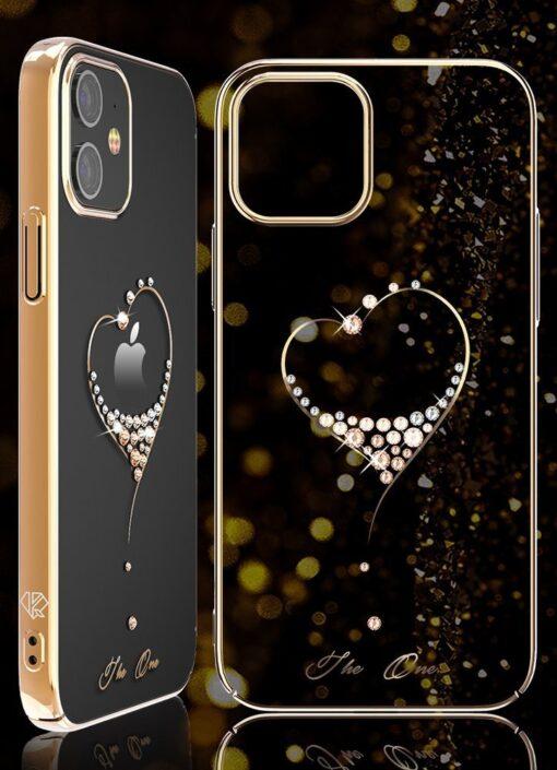 iPhone 12 Pro Max Kingxbar Wish elastsest plastikust Swarowski kristallikestega kuldne 5