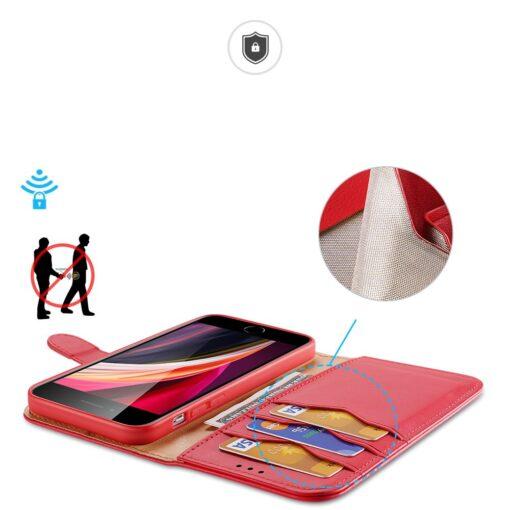 iPhone SE 2020 iPhone 8 iPhone 7 Dux Ducis Hivo Genuine Leather raamatkaaned punane 1