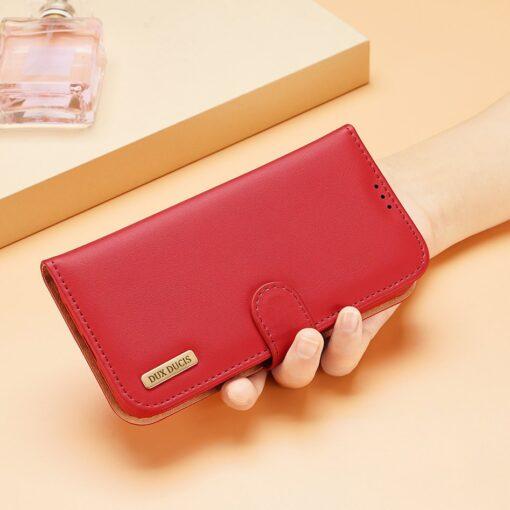 iPhone SE 2020 iPhone 8 iPhone 7 Dux Ducis Hivo Genuine Leather raamatkaaned punane 12