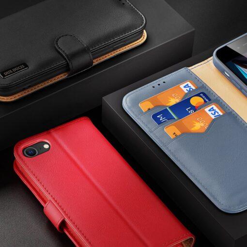 iPhone SE 2020 iPhone 8 iPhone 7 Dux Ducis Hivo Genuine Leather raamatkaaned punane 18