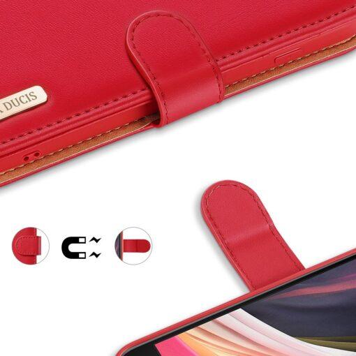iPhone SE 2020 iPhone 8 iPhone 7 Dux Ducis Hivo Genuine Leather raamatkaaned punane 3