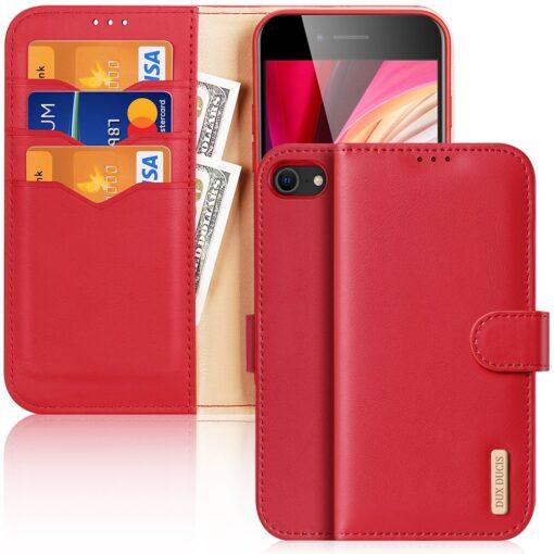 iPhone SE 2020 iPhone 8 iPhone 7 Dux Ducis Hivo Genuine Leather raamatkaaned punane